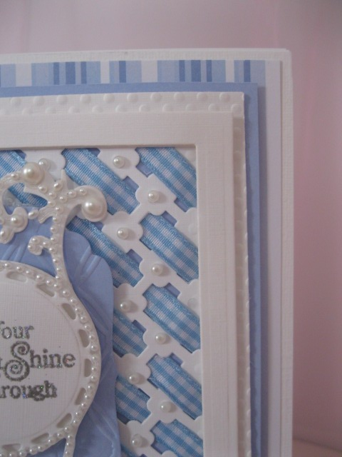 Spellbinder Crisscross Pattern with ribbon