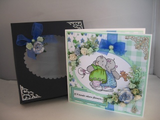 Stamped card with matching box