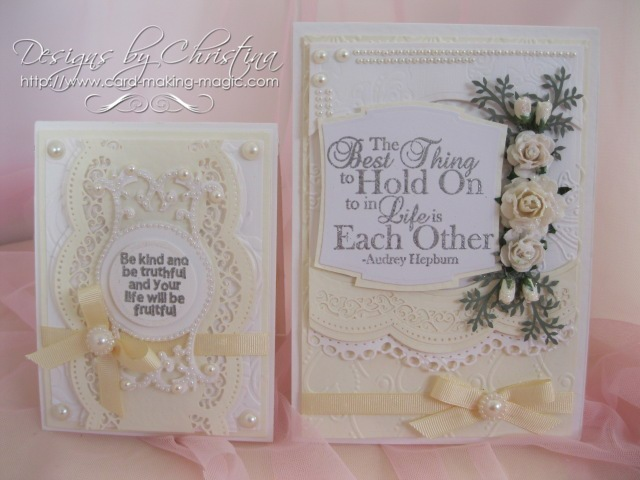 Cream and White cards with border dies