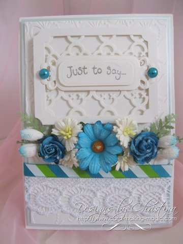 Floral display with turquoise flowers