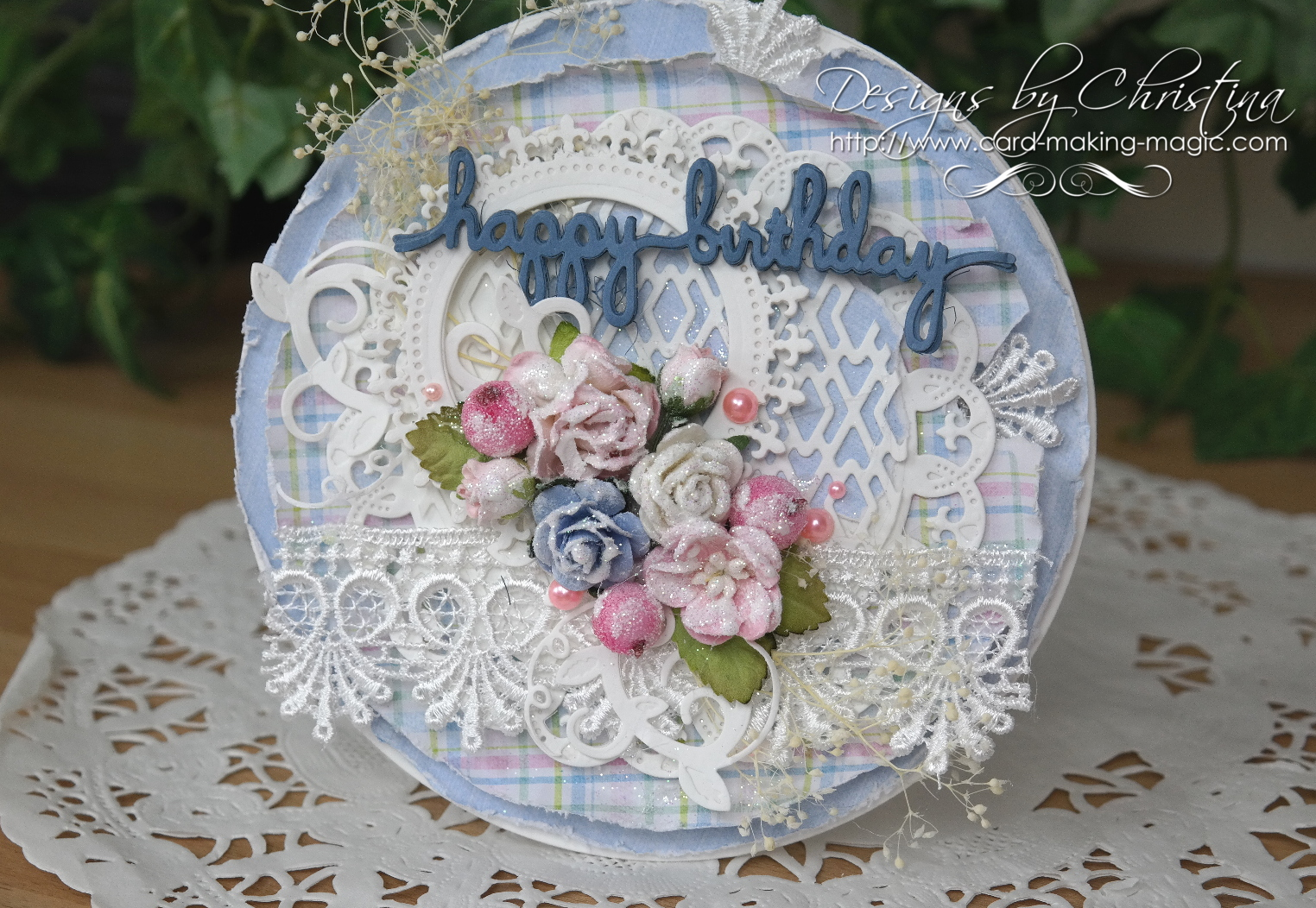 Shabby Chic Round Birthday Card