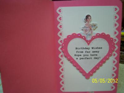 Ballerina Birthday Card Insert