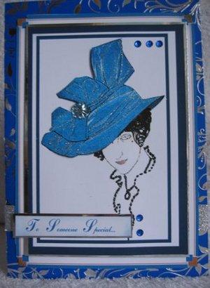 Art Deco Blue hat Card