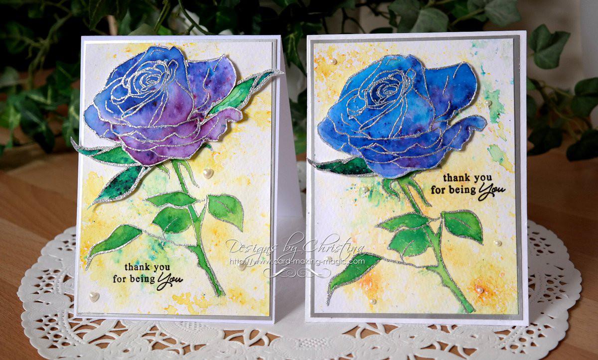 Brusho coloured Roses