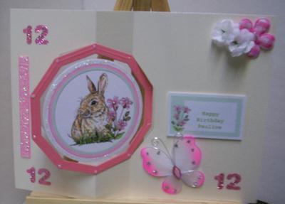 Bunny Floating Decoupaged Swivel Card
