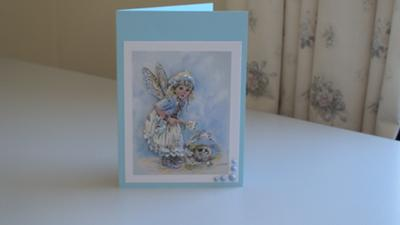 Blue Decoupage Fairy