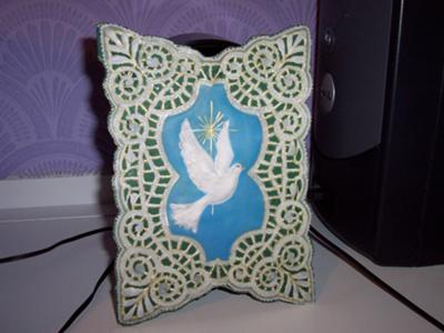 White doves on parchment lace