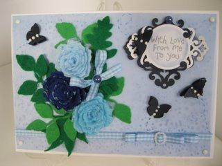 Blue flowers in felt
