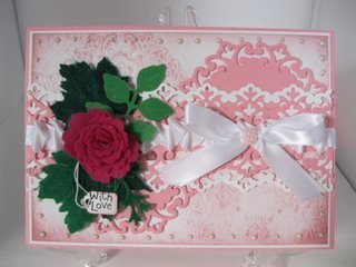 Deep pink felt rose