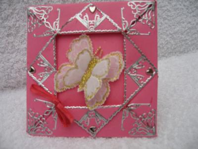 Pink framed butterfly