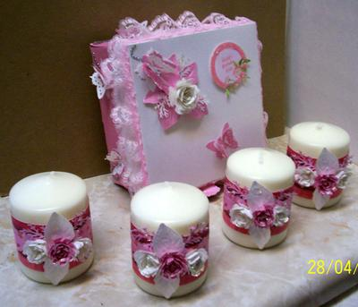 Pink Lace, Roses & Butterflies Candle Gift Box