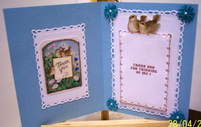 In Side of Pretty Birds Thank You Card