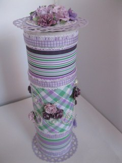 Altered snack can in lilac