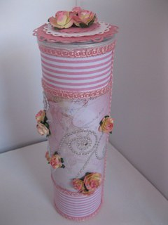 Altered snack can in pink