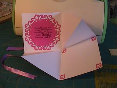 Inside of Pink Butterfly card