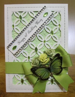 White and Green Birthday Card