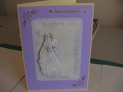 Wedding card with my first attempt at stitching
