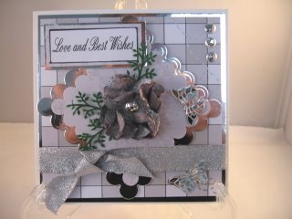 Grey and silver flower card