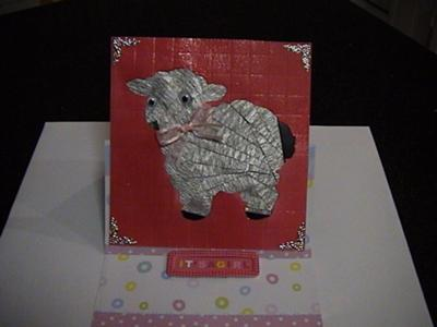 Iris fold Lamb with Faux Tile background